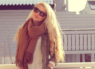 sweater clothes blogger white pull cool scarf erica mohn kvam shirt jacket blonde hair fall outfits cute love sunglasses fashionista