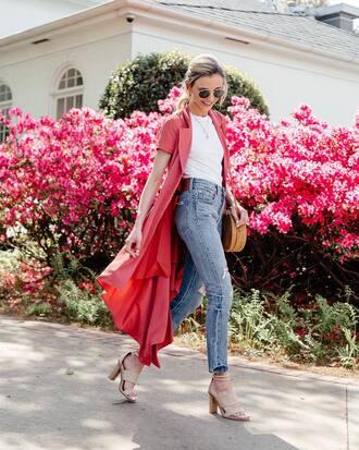 dress midi dress pink dress top white top denim jeans blue jeans sandals sunglasses round sunglasses