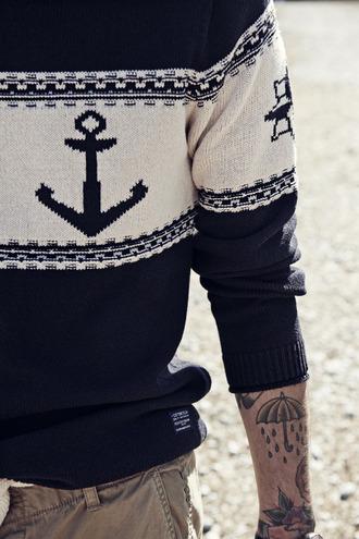 sweater anchor menswear tattoo sailor hipster menswear