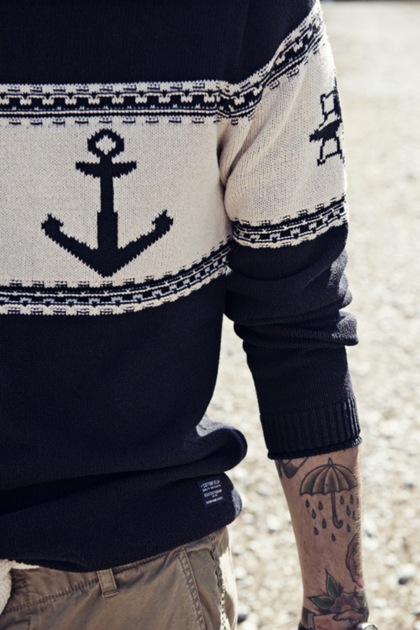 sweater anchor menswear tattoo menswear sailor hipster menswear