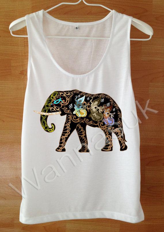 Elephant tank top custom handmade tank screen print white for Elephant t shirt women s