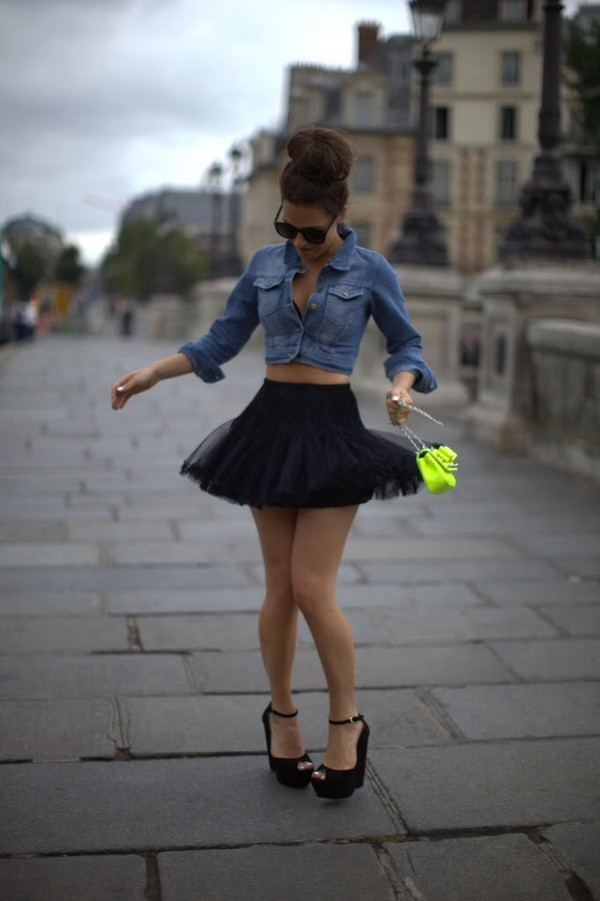 shirt denim cropped skater skirt denim jacket denim shirt