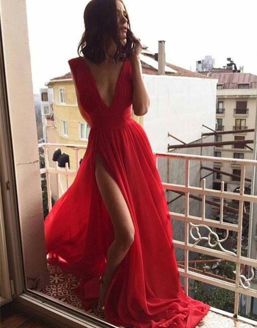 Simple v neck red long prom dress, red evening dress - 24prom