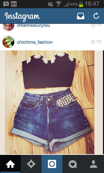 blouse tumblr flower crop top crop tops shorts beautiful instagram