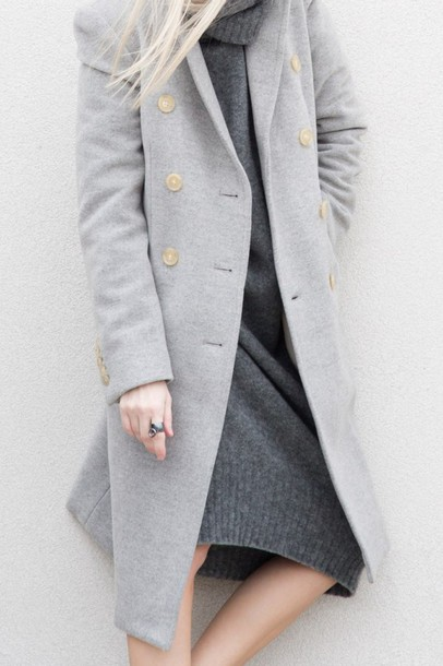 coat tumblr all grey everything All grey outfit grey coat sweater dress midi dress knitwear knitted dress turtleneck turtleneck dress winter outfits winter look