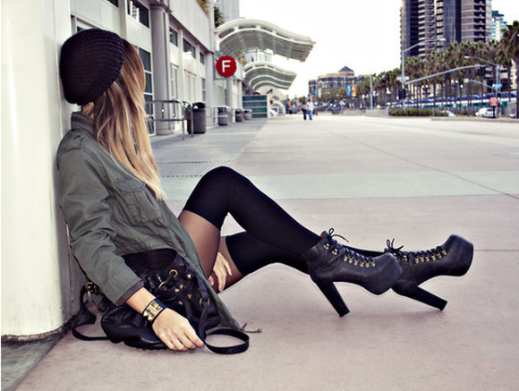 grey jacket shoes high heels black shoes black handbag black stockings
