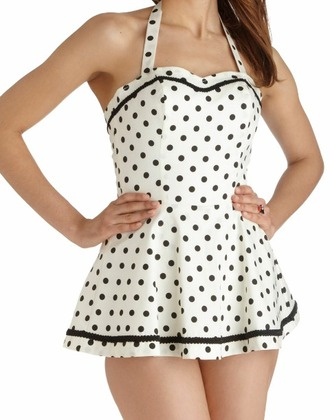 swimwear vintage swimwear dress polkadots black and white retro