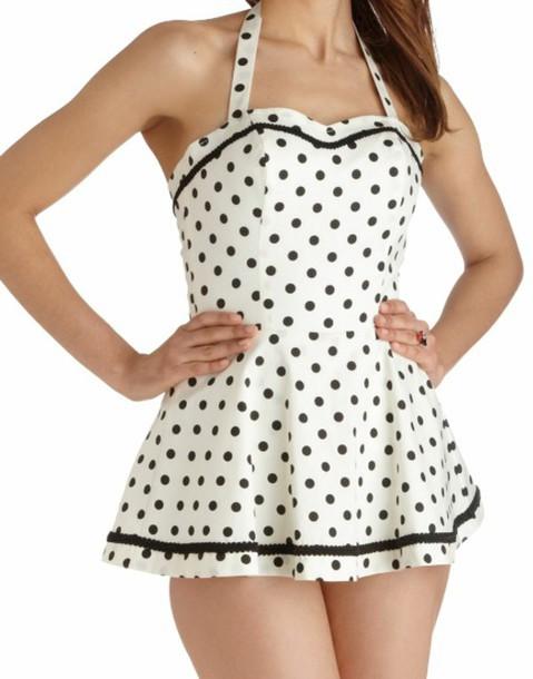 swimwear vintage swimwear dress polka dots black and white retro