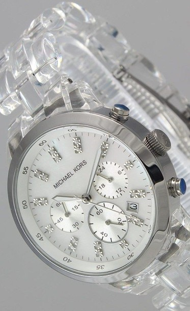 jewels watch acrylic clear silver michael kors