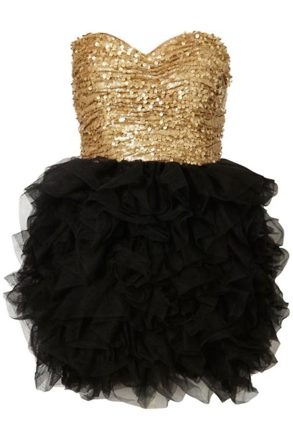 dress dance dress black gold