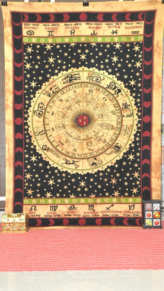 Astrology Tapestry, Hippie Tapestries, Indian Zodiac Bedspread Bed ...