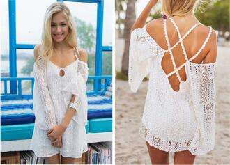 blouse white sexy halter straps bat sleeve lace blouse lace halter straps street sexy backless girl sweet clothes summer white