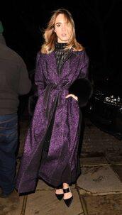 coat,pumps,suki waterhouse,winter coat,purple,shoes