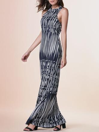 dress maxi fashion style black and white summer trendy pattern dressfo