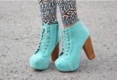 shoes,light blue booties,heels,aqua high heels,boots,lace up,wooden,cute,light blue heels,blue shoes,high heels,turkise