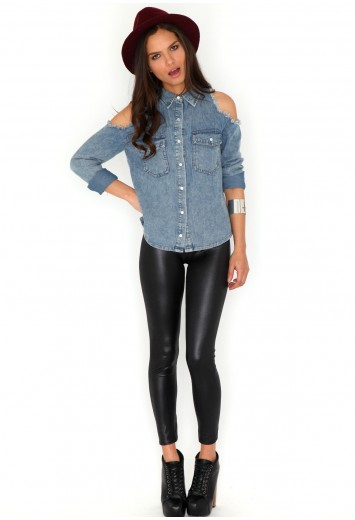 Anthea Wet Look Leggings - leggings and hosiery - missguided