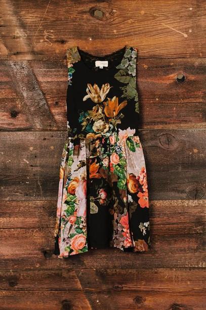 dress floral summer summer dress black coral flowers