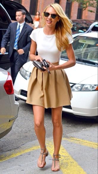skirt a line skirt beige skirts short skirt white shirt tight shirt candice swanepoel