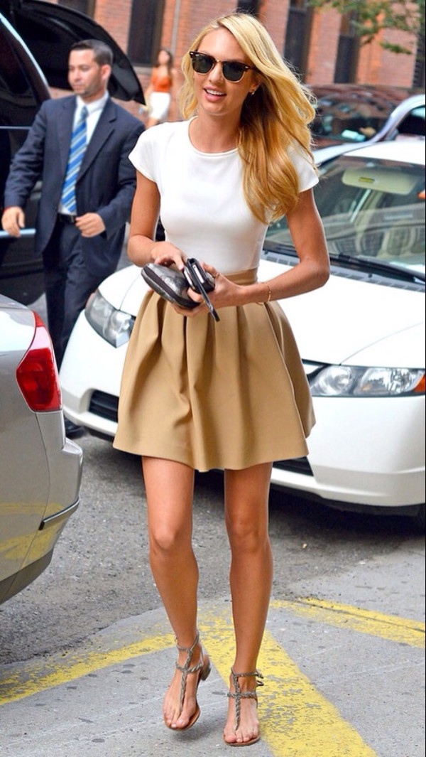 skirt a line skirt beige skirt short skirt white shirt tight shirt candice swanepoel