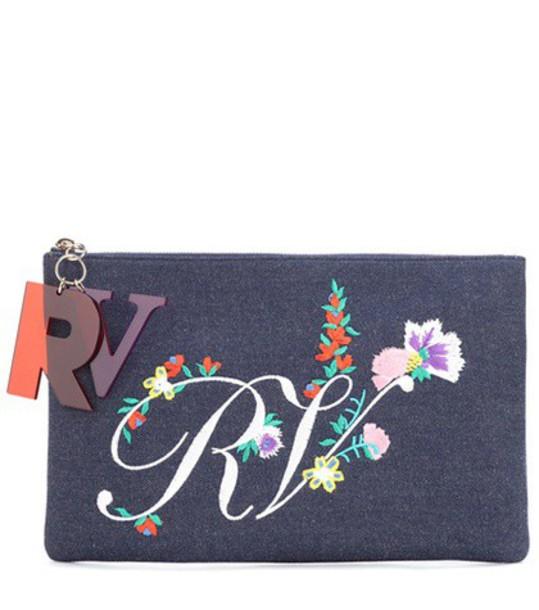Roger Vivier denim embroidered clutch blue bag