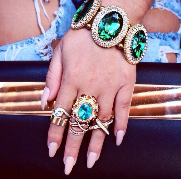green jewels ring bracelets blue gold rings gold diamonds jewelry bracelets luxurious luxury