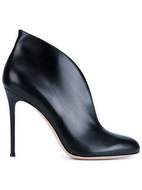 Gianvito Rossi women ankle boots leather black black leather shoes