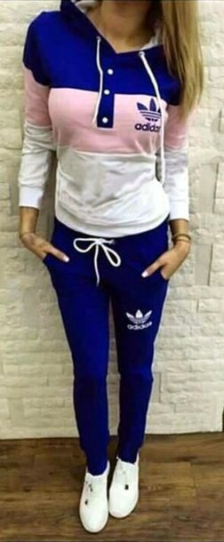 jumpsuit adidas tracksuit sweatshirt adidas sweatpants stripes trefoil casual suit sexy workout gym fitness fitness pants jogging suit sexy outfit casual summer blue adidas blue long sleeves holidays adidas trefoil fashionista casual chic street urban moraki summer outfits streetwear