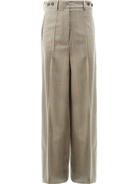 Rokh - houndstooth wide leg trousers - women - Wool - 42, Nude/Neutrals, Wool