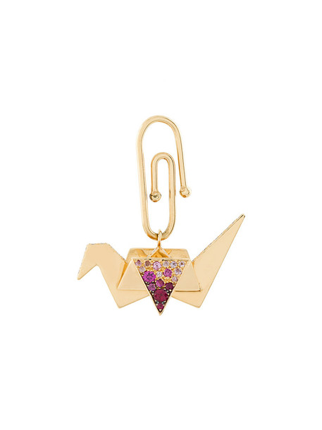 AURELIE BIDERMANN women origami pendant gold grey metallic jewels