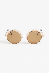 sunglasses,floral,round sunglasses,gold