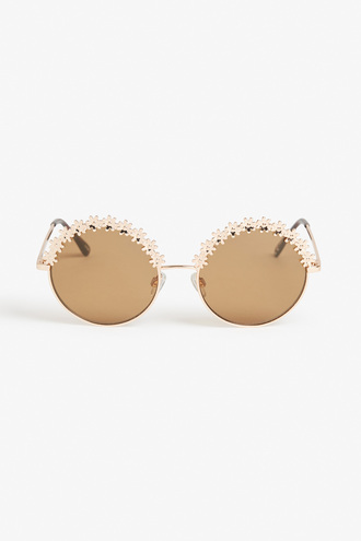 sunglasses floral round sunglasses gold