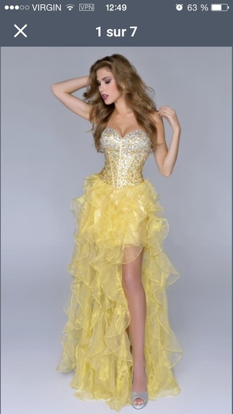 dress yellow prom dress burlesque girl prom long short no sleeve glitters yellow dress