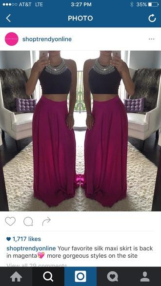 skirt maxi maxi skirt silk magenta plum pink fuchsia