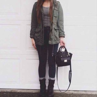 black green high waisted jeans jacket black bag black bags army green jacket combat boots stripes striped shirt socks the black bag army green jacket olive military green military coat army green