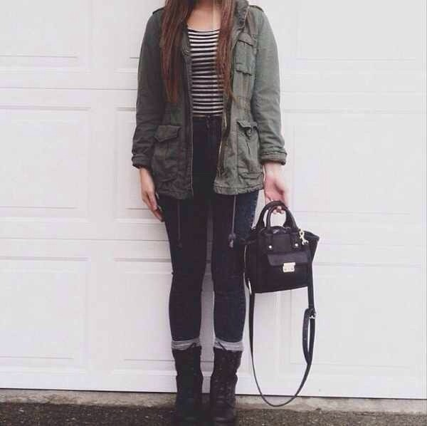 jacket army green jacket green combat boots black stripes striped shirt high waisted jeans socks black bag black bag the black bag army green jacket olive green army green military coat army green