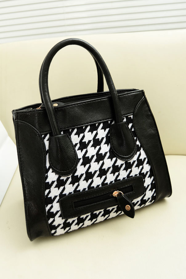 Cute Contrast Pattern Smile Handbag [FPB796] - PersunMall.com
