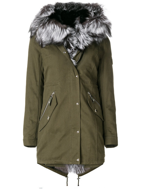 parka fur fox women cotton green coat