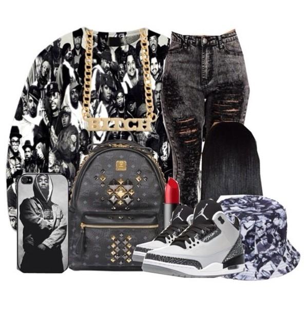 thug life jeans jordan's bag acid wash shirt