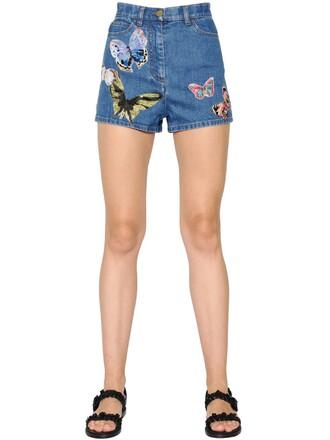 shorts denim shorts denim butterfly blue