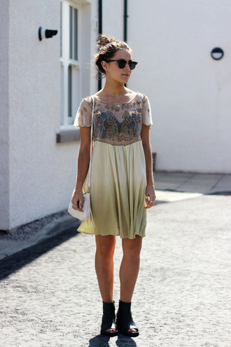 the little magpie bag shoes blogger embellished dress dress top shop h&m crossbody bag summer outfits summer dress free people peep toe boots ombre dress gold sequins gold see through dress