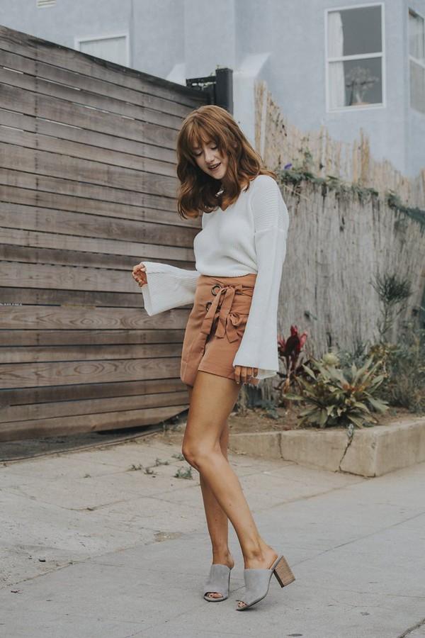 skirt wrap skirt mini skirt lace up skirt blouse mules blogger blogger style bell sleeves