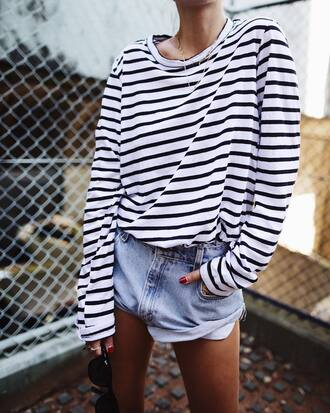 top tumblr stripes striped top necklace gold necklace jewels jewelry gold jewelry shorts denim denim shorts sunglasses