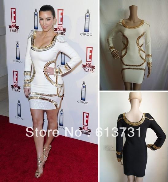 Kim k white and gold dress