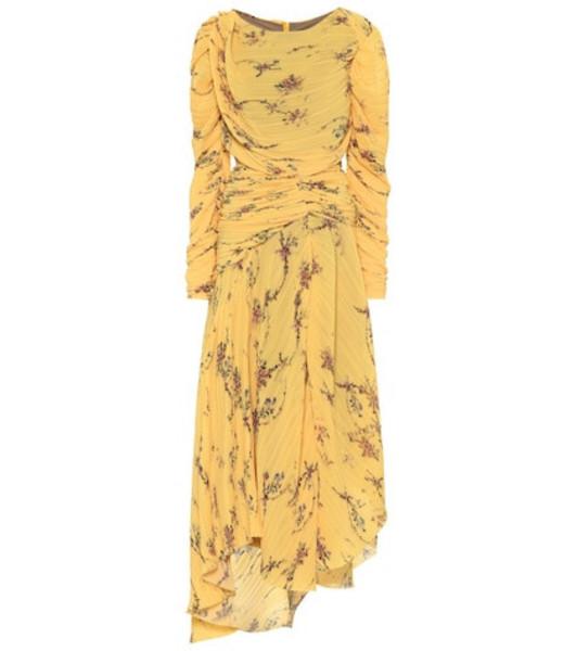 Preen by Thornton Bregazzi Sandra pleated georgette dress in yellow