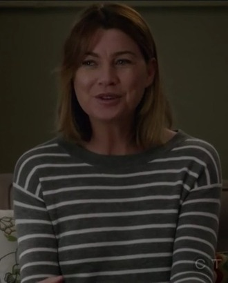 sweater ellen pompeo meredith grey grey white stripes casual grey's anatomy striped top