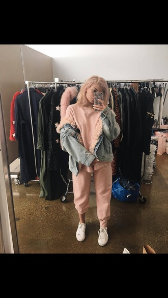 pants kylie jenner joggers pink sweater