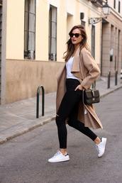 lady addict,blogger,jeans,top,bag,sunglasses,camel coat,jacket,shoes,coat,helptofind,thanks for hlep,white t-shirt,camel,black jeans,stan smith,black bag,street