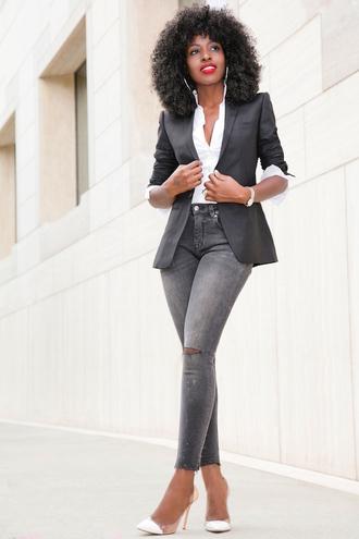 blogger jacket shirt jeans shoes
