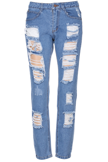 ROMWE | ROMWE Shredded Blue Denim Jeans, The Latest Street Fashion