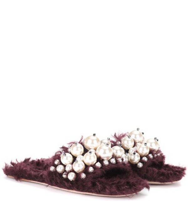 Miu Miu Embellished faux fur slippers in purple